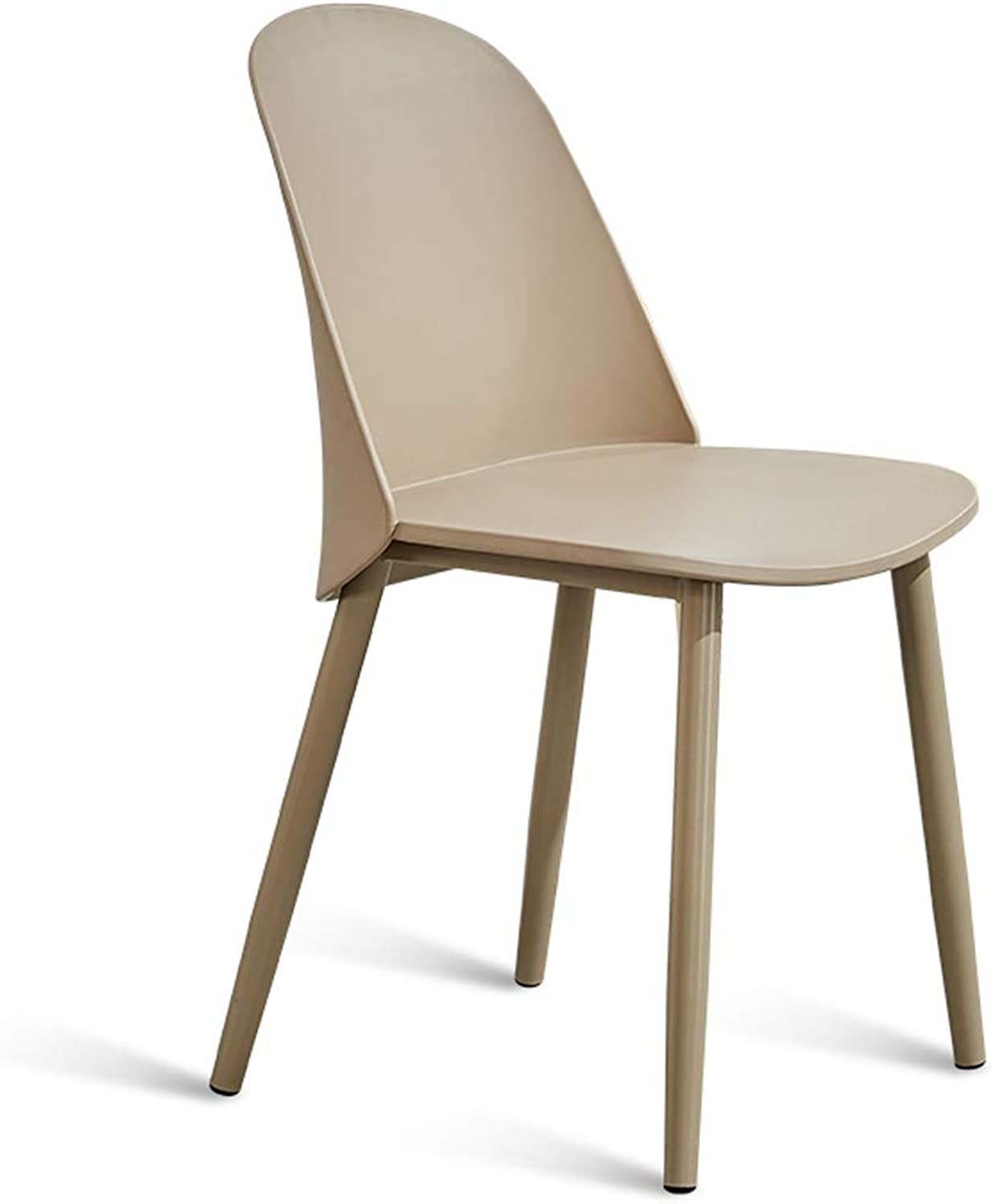 LRW Nordic Simple Desk and Chair Household Leisure Talk Reception Fashion Dining Chair Creative Backrest Study Chair Desk and Chair, Steel Leg, Kaki color