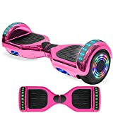 NHT Electric Hoverboard Self Balancing Scooter with Built-in Bluetooth Speaker LED Lights - Safety Certified for Adult Kids Gift (Chrome Pink)