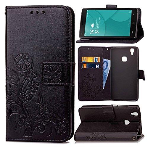 Guran Funda de Cuero PU para Doogee X5 MAX / X5 MAX Pro Smartphone Función de Soporte con Ranura para Tarjetas Flip Case Trébol de la Suerte en Relieve Patrón Cover - Negro