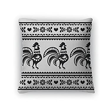 Gear New Throw Pillow Accent Decor, Polish Monochrome Folk Art Pattern With Roosters Wzory Lowickie, 20  Cover & Insert, 3670319GN