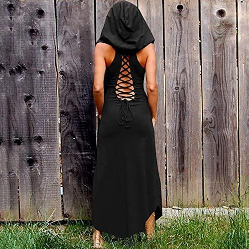 liuliu Vestido Largo gótico para Mujer, Vestidos sin Mangas Vintage para Fiesta, Vestido Elegante Negro con Cordones para Mujer, Vestido Largo de Moda de otoño gótico para Mujer
