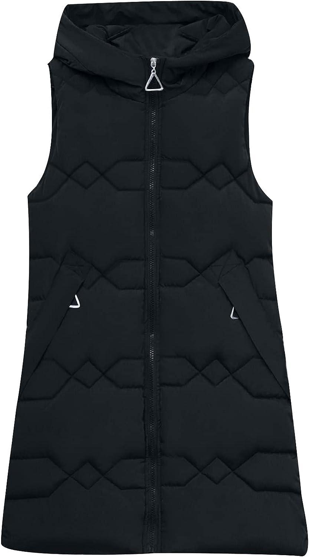 Womens Winter Coats,Women's Large Long Zipper Pockets Hooded Cardigan Jackets Vest Sleeveless Solid Color Warm Outerwear Tops