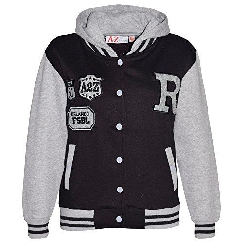 A2Z 4 Kids Mädchen baseball r hooded jacket unihoodie new age 2 3 4 5 6 7 8 9 10 11 12 13 jahre 11-12 jahre schwarz & amp; grau