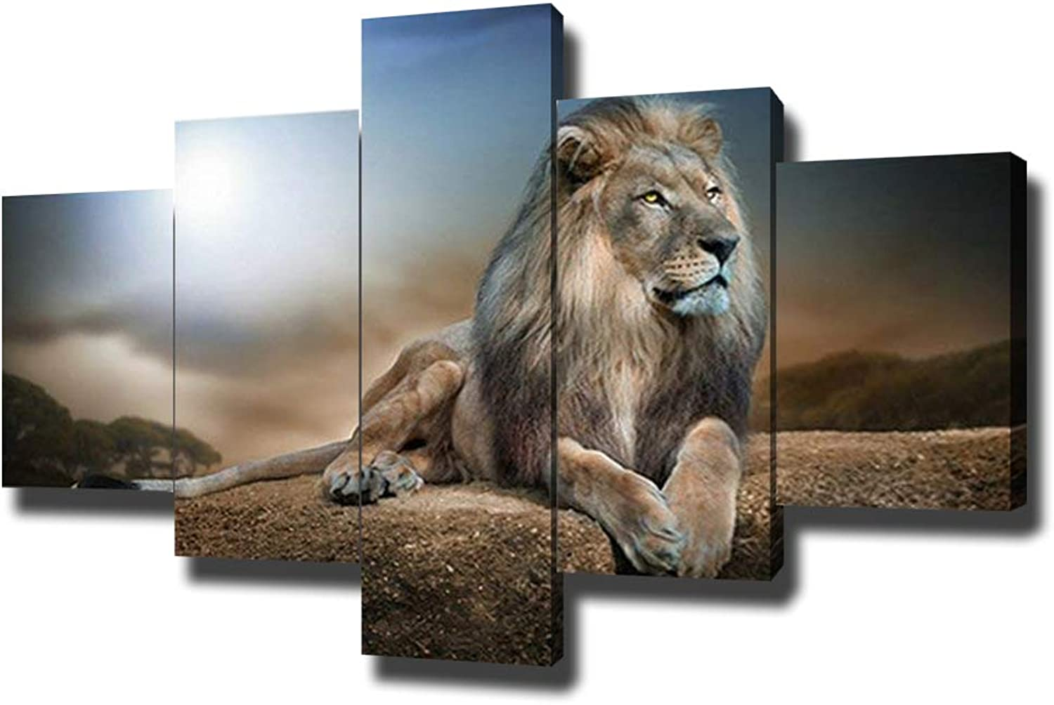 SwmArt 5 Piece Wall Art Painting A Kingly Lion Lying On The Rock Picture On Canvas for Living Room Decor Or As A Gift(50  W x 28  H, Framed)