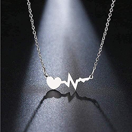 ZHIFUBA Co.,Ltd Collar de Acero Inoxidable para Mujer, Collar con Colgante de cardiograma de Amor, Collar de joyería de Compromiso, Regalo
