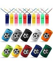 Kesote 10 x zweetband voetbal polsband (10 kleur) + 10 x fluitje plastic fluitje (kleur willekeurig) voor sport, voetbalverjaardag, feest