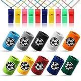 Kesote 10x Schweißband Fußball Handgelenksband (10 Farbe) + 10x Pfeife Plastik Whistle (Farbe Zufällig) für Sport Fußballgeburtstag Party