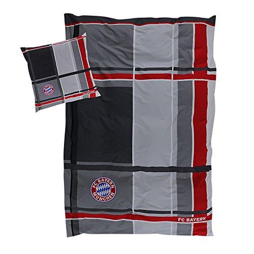 FC Bayern München Bettwäsche Karo 1 Bettbezug 135x200 cm + 1 Kissenbezug 80x80 cm