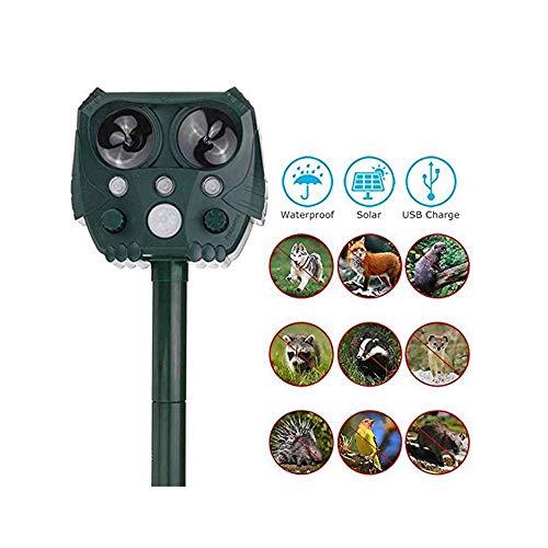 CHUTD Dispositivo de expulsión Solar Intermitente Repelente ultrasónico de Animales y plagas Repelente de pájaros Resistente al Agua al Aire Libre Suite para Granja Rancho jardín
