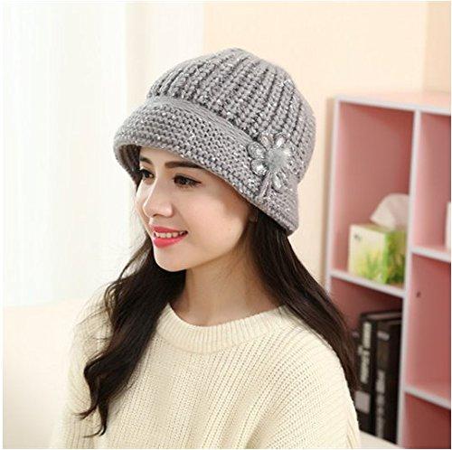 TFXWERWS TFXWERWS Warm Fashion Lady Blume Knitted Winter Hat (grau)