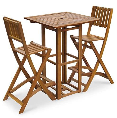 Zerone Set aus Tisch und 2 Stühlen, Gartenmöbel-Set aus Massivholz, Akazie, Klappstühle