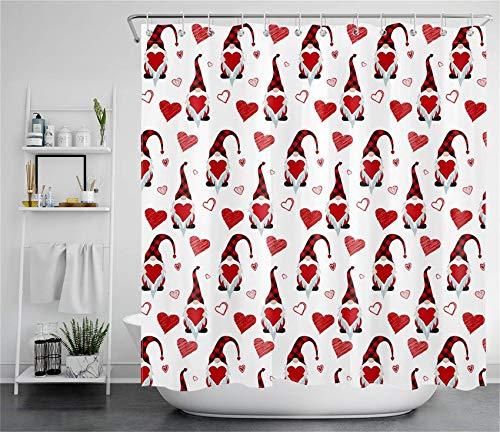 """JOOCAR Cortina de ducha con ganchos para el Día de San Valentín, romántico, con texto en inglés """"Sweetheart"""""""
