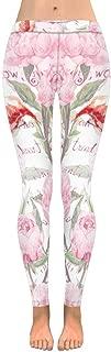 INTERESTPRINT Women's Stretchy Yoga Pants Pink Flamingo Bird Pattern Full Length Active Leggings