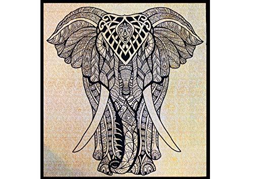JOVAL - Mandala de Elefante Extra Grande (210 x 240cm) para decoración del hogar Estilo Indio con diseños Coloridos para Usar como Mantel o sábana, como Adorno de Pared, útil para Picnic. (Marron)