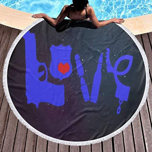 Police Love Love Badge Toalla de playa Tapiz de playa redondo con borlas Manta de playa a prueba de arena Toalla de esterilla de yoga 59 pulgadas