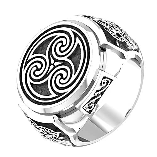Nordic Viking Celtic Knot Triskelion Triskele Ring 925 Sterling Silver Size 6-15