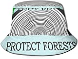 BONRI Sombreros de Cubo Transpirables con Parte Superior Plana Unisex Sombrero de Cubo de Acuario Sombrero de Pescador de Verano-Anillo Anual-Proteger bosques-Talla única