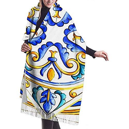 Elaine-Shop Italienische Majolika Fliesen Floral Vintage Winter Herbst Warmer Schal Schals Wickelschal für Männer Frauen