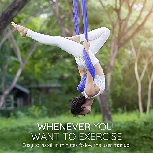 QWJUN Antigravità Hanging Yoga Sling, antigravità Aerea Yoga Altalena, Yoga Amaca, 4 Acciaio Moschettoni, 6 Maniglie, Adatto a Uomini e Donne