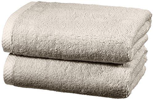 Amazon Basics - Handtuch-Set, schnelltrocknend, 2 Handtücher - Platingrau, 100% Baumwolle