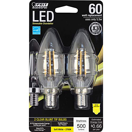 Feit Electric BPCTC60/827/LED/2 Decorative Clear Glass Filament Led Dimmable 60 Watt Equivalent Soft White Torpedo Tip Chandelier Bulb (2 Pack), Candelabra, 60 Watt Equivalent
