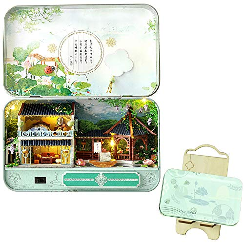 moin moin ドールハウス ミニチュア 手作りキット セット 小物入れ で 巡る 中華 の 春夏秋冬 四季 シーズン 缶 中国 | 小型 | LEDライト + 展示台 | 夏