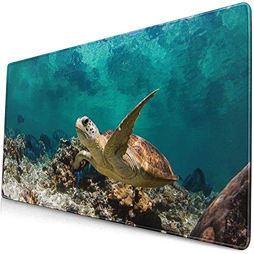 schildpad op zoek naar voedsel in de koraal uitgebreid gaming muis pad, dikke grote computer toetsenbord muismat