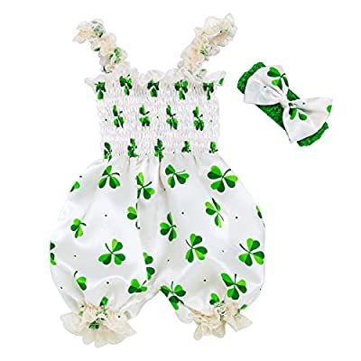 XMCOSOCS Baby Girls Shamrocks Bodysuit-St. Patrick's Day Lace Satin Romper Bloomers with Headband Baby Shower Clothes Birthday Gift, M (0-6 Month)
