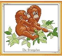 クロスステッチ刺繍キット、木の上の2匹の小猿家の装飾ギフト用のDIY子供用初心者アート印刷パターン刺繍キット(11CT 40X50cm)