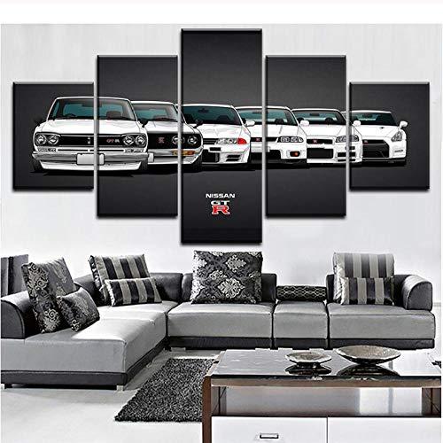 Leinwandmalerei, HD-Druck, moderne modulare Kunstwerke, 5-teilig, Nissa Skyline Gtr Auto Bilder, dekorative Wandkunst