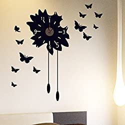 ekqw015l Fashion Clock for Home Living Room Bedroom Decor & Removable DIY Black Butterfly Clock Wall Decal Sticker Home Living Room Decor
