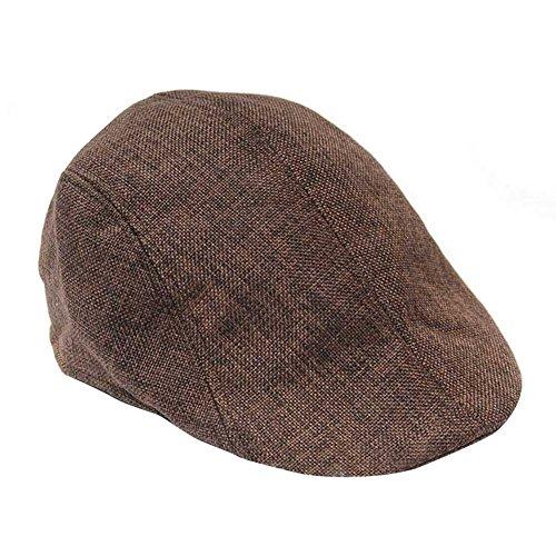 HugeStore Herren Flat Cap Flatcap Schiebermütze Schildmütze Schirmmütze Newsboy Kappe Sportcap Golfmütze Braun
