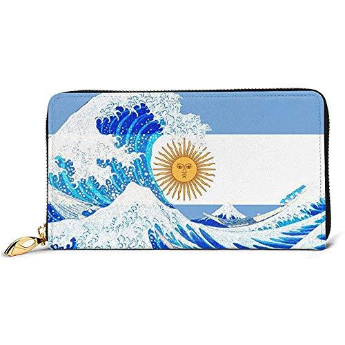 Jacque Dusk Billetera De Cuero Argentina Flag and Wave Off Kanagawa Carteras para Billetera De Cuero Largo Unisex Portatarjetas Monedero Cremallera Hebilla Embrague Monedero para Mujer