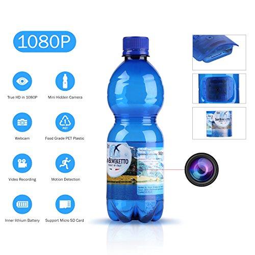 SANNCE 1080P HD Cámara oculta espía botella de agua(grabación de vídeo potable botella de movimiento cámara de seguridad 180mins grabación Soporta tarjeta micro 64GB Detección de movimiento)