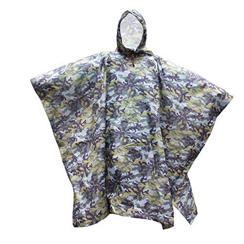 WINOMO Camouflage Multifonctionnel Capuche Poncho Vêtements Imperméables Pour L'Escalade Randonnée Cycliste (Vert)