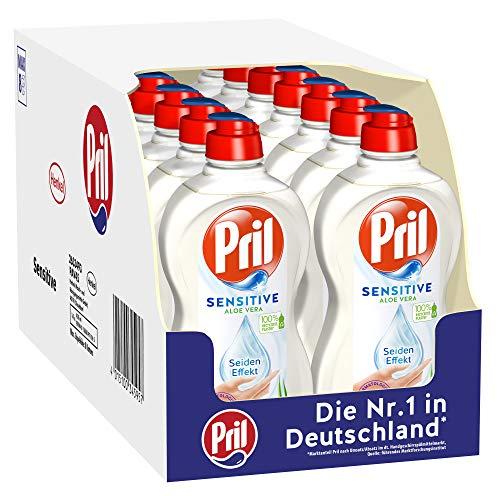 Pril Sensitive Aloe Vera, (16 x 450 ml) Handgeschirrspülmittel, pH hautneutral mit Seideneffekt