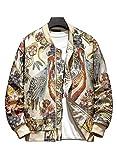 HOOD CREW Men's Crane Embroidery Stand Collar Zipper Casual Hip hop Stylish Floral Varsity Bomber Jacket M