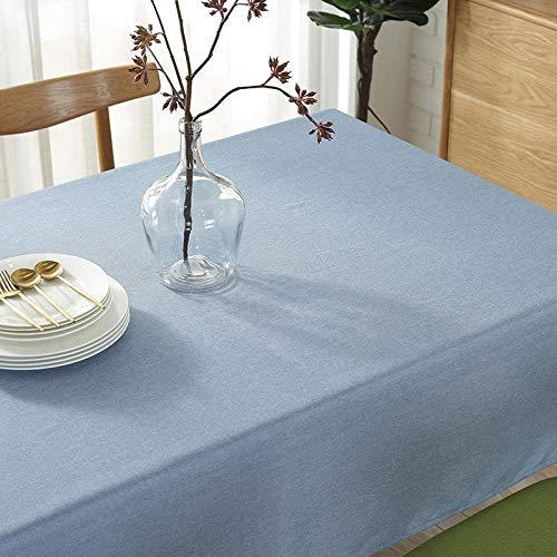 YUQIBXC - Mantel rectangular elegante de algodón y lino, color sólido, a prueba de polvo, lavable, para mesa de cocina, comedor, cocina al aire libre, azul, 120×160cm