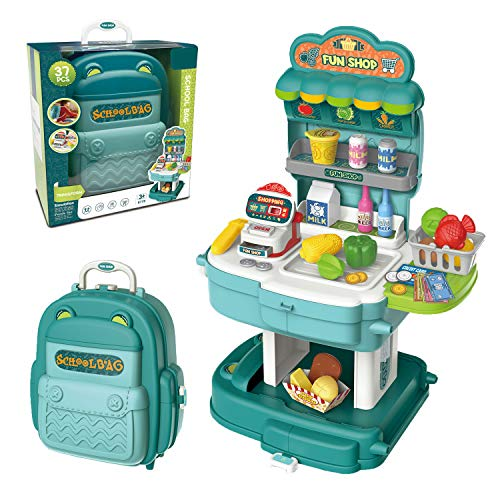 genenic Pretend Play Toy Set,Kids 2 in 1 Backpack Playset,37pcs Simulation Props,Shopping Grocery Play Store Set,Role-Play Toy Including Scanner,Cash Register,Fruits and More,Gifts for Kids