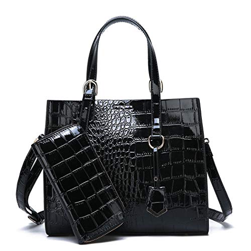 AINUOEY Damen Handtaschen Frauen Schultertaschen Umhängetaschen PU-Leder Bowlingtaschen Schwarz