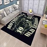 Motorcycle Racing Typography Graphics Old School Bike T Shirt Design Vector Illustration_254172952 Non-Slip Floor mat 6.6'x9' Indoor Living Room Floor mat