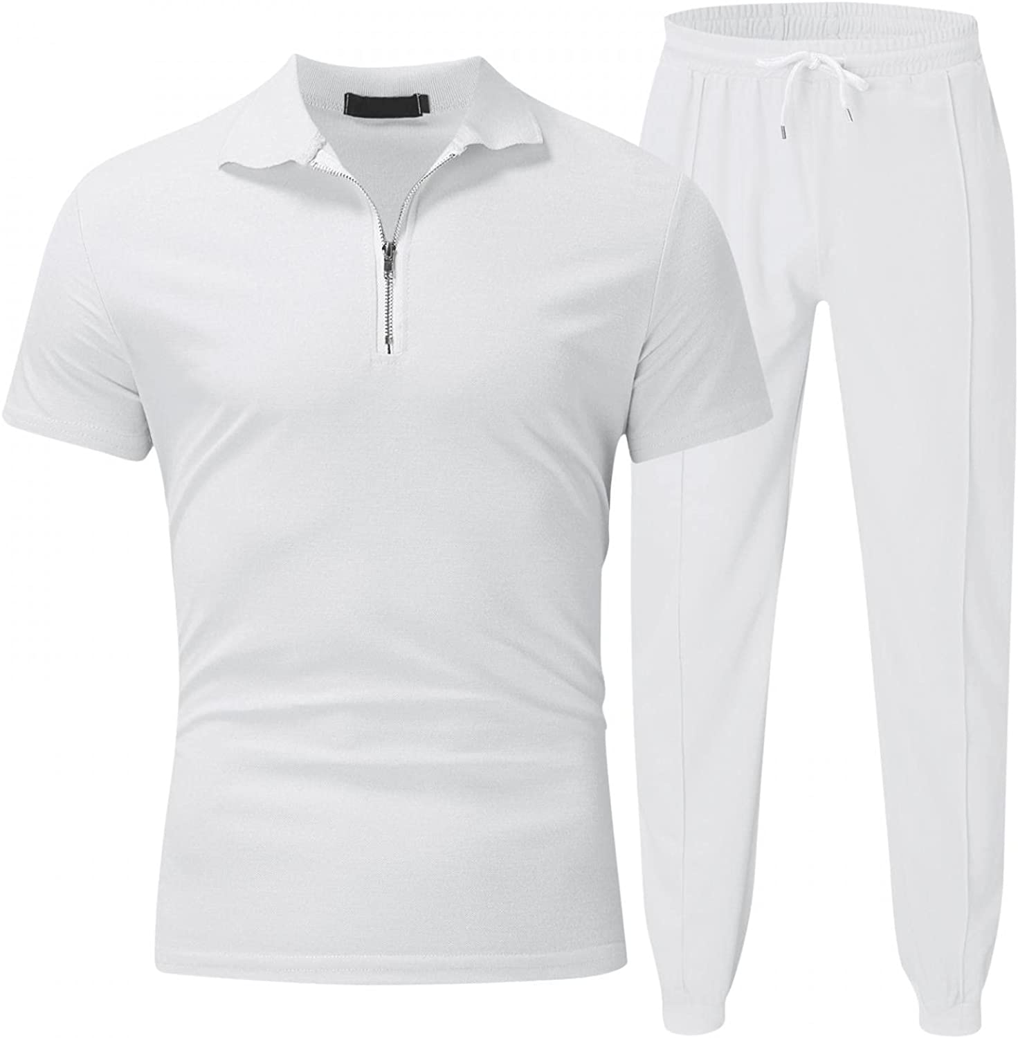 JSPOYOU Men's Tracksuits 2 Piece Outfit Zip Up Short Sleeve Top and pants Casual Slim Fit Athletic Jogging Tracksuit Sets
