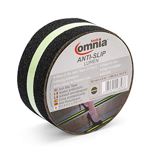 OMNIA TOOLS Lumen Antirutschband für Innen & Außen | Selbstklebend | Schwarz/Gelb, 0,75 mm, 50 mm x 5 m