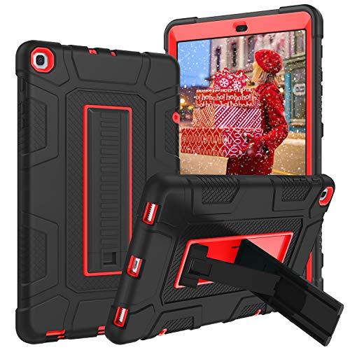 YINLAI Samsung Galaxy Tab A 10.1'' Hülle 2019 T510N/T515N mit Ständer,3 in 1 Hybrid Hochleistungs Stoßdämpfer Schutzhülle für Samsung Galaxy Tab A 10.1 Zoll 2019 Tablet SM-T510/SM-T515, Schwarz+Rot