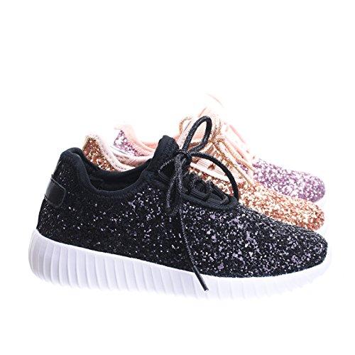 Link Lace up Rock Glitter Fashion Sneaker for Children/Girl/Kids Black, 10 Toddler