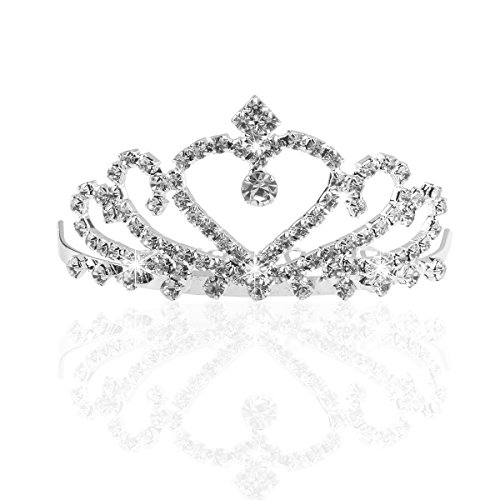 Pixnor Hochzeit Braut funkelnden Kristall Strass Krone Tiara Haarreif mit Kamm Silber