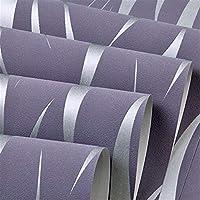 ウォールステッカーステッカー壁紙 ウェーブラインストライプの壁の3D現代のファッションリビングルームのテレビの背景の壁紙の3Dエンボス不織布フロッキング壁紙ロール (Color : Purple, Dimensions : 5.3Square meter)