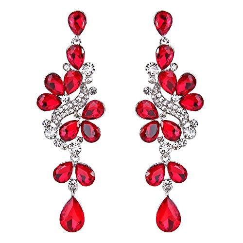 Clearine Orecchini Vittoriano Stile Cristallo Sposa Nuziale Grappolo Foglie Lacrima Ciondolo Orecchini Rosso vivo Colore