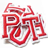 Iron on Letter Patches 52 Pieces,White Letter Patches Alphabet Embroidered Patch A-Z,for Hats Shirts Jeans Bags Red