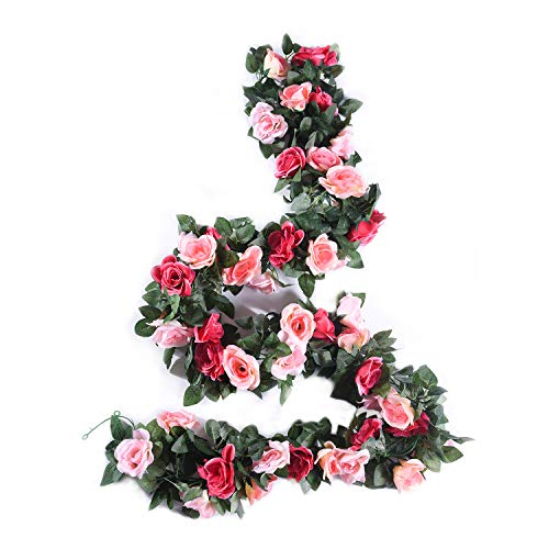 MARTHA&IVAN 3 Strands Artificial Flower Vine Fake Rose Faux Hanging Flower Garland for Wedding Arch Backdrops Home Decor (Pink Shades, 3)